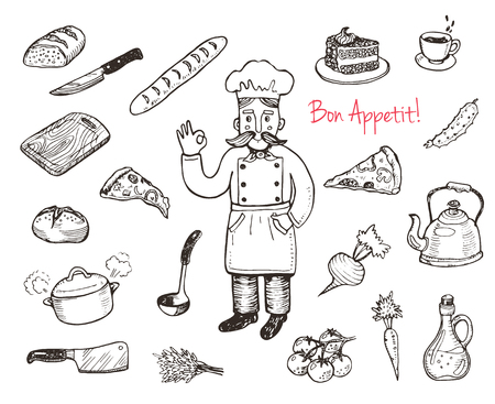 proffesional: Hand drawn doodle cooking set.  Kitchen utensils and food.