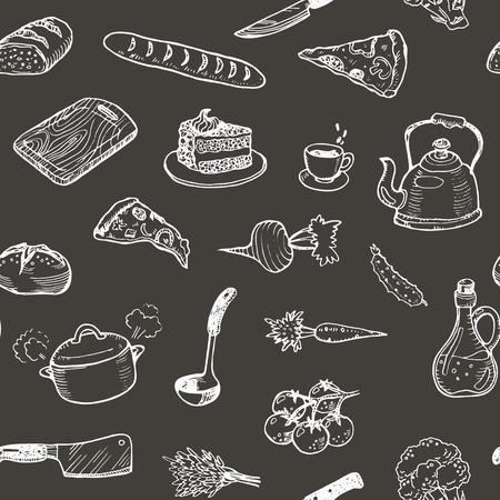 Hand drawn cooking doodle set texture. Seamless pattern with kitchen utensils and food on a black chalkboard. Vector