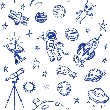 cohetes: Dibujado a mano del doodle del espacio de fondo sin fisuras Vectores