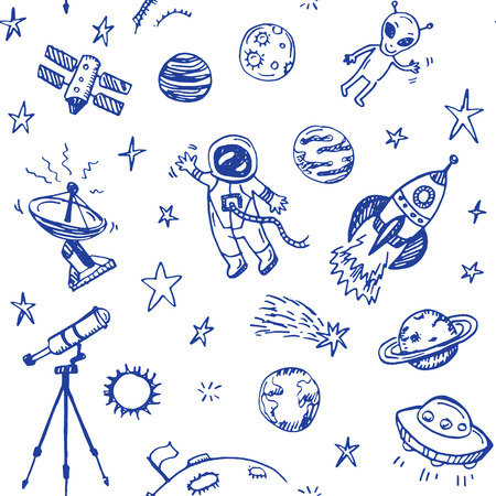 space station: Hand drawn space doodle seamless background