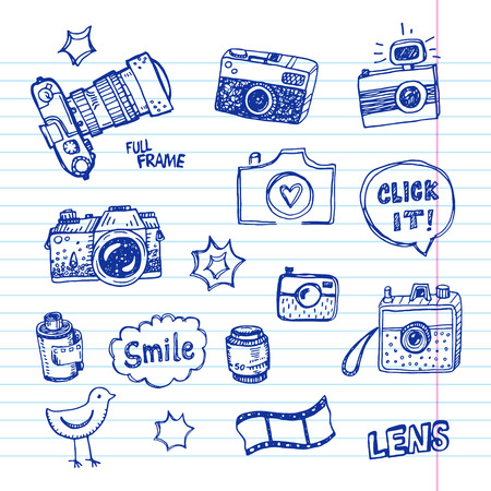 photography: Hand drawn vector illustration set of photography sign and symbol doodles elements. Illustration