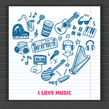 love music: I love music. Hand drawn doodle background. Illustration
