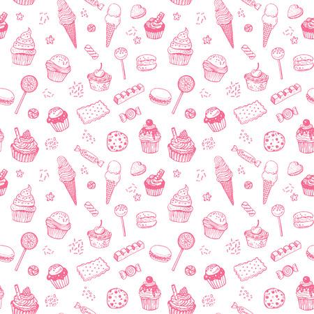 tortas de cumpleaños: Dibujado a mano del doodle dulces patrón transparente con dulces, bizcochos, galletas, chocolates, paletas y jellyes