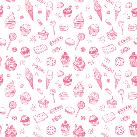 birthday cakes: Hand drawn sweets doodle seamless pattern with candies, cupcakes, cookies, chocolates, lollipops and jellyes Illustration