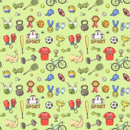 Hand drawn doodle sport seamless pattern. Vector background for your design.
