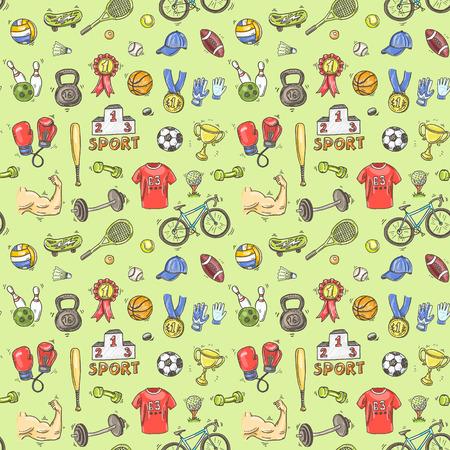 Main dessinée doodle sport pattern. Vecteur de fond pour votre conception. Banque d'images - 41456018