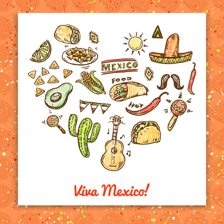 Mexican seamless hand drawn background Vector
