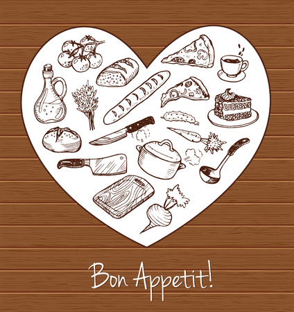 carrot cake: Vector background with hand drawn sketch cooking set.