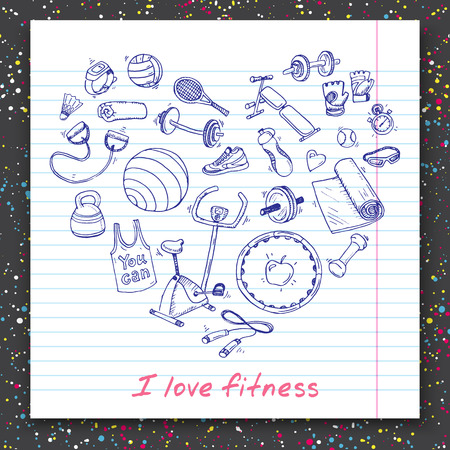 fitness motivation: Hand drawn vector illustration set of fitness and sport sign and symbol doodles elements.
