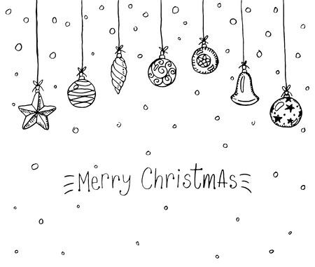 Merry Christmas doodle wenskaart Stock Illustratie