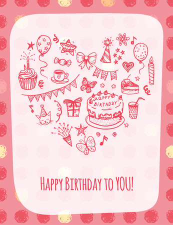 Happy birthday greeting card with hand drawn doodle elements. Vector