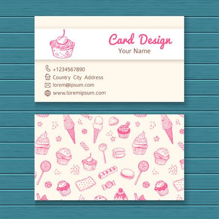 pasteles: Plantilla de la tarjeta de visita con dulces dibujados a mano establecidos. Vectores