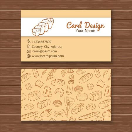 손으로 그린 낙서 빵집 세트 비즈니스 카드 템플릿입니다.
