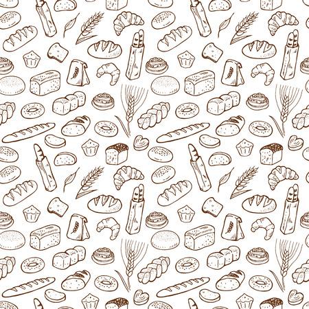 손으로 그린 빵집 원활한 패턴 배경.