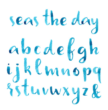 abc calligraphy: Hand drawn watercolor nautical font.