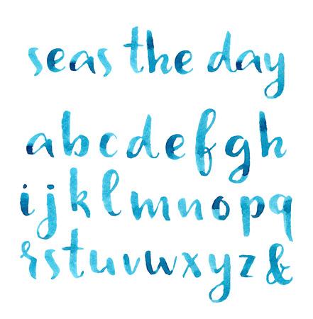Hand getekende aquarel nautische lettertype.