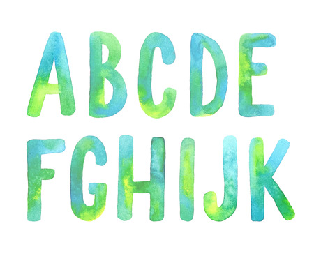 Hand painted green watercolor alphabet. Letters A-K. Stock Illustratie