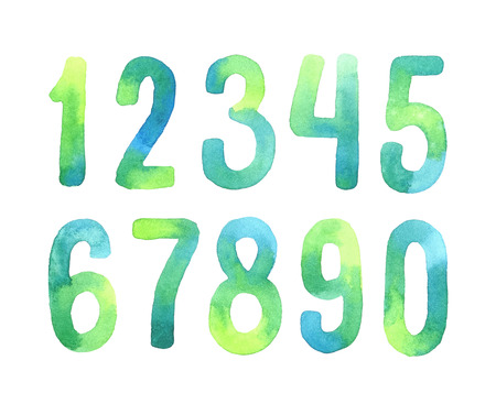 Hand painted green watercolor alphabet. Numbers 0-9. Vectores