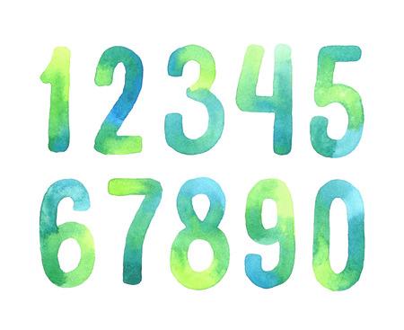 nombres: Peint à la main verte alphabet aquarelle. Numbers 0-9.