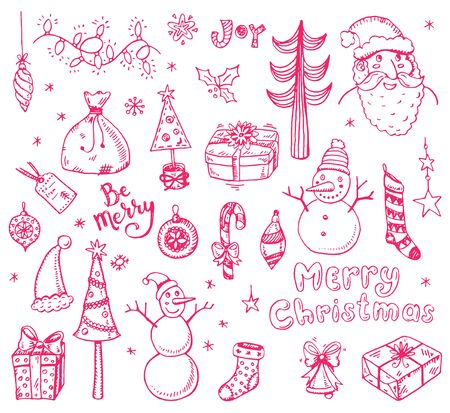 lightsdrawing: Merry Christmas funny doodle set with holidays sings and symbols.