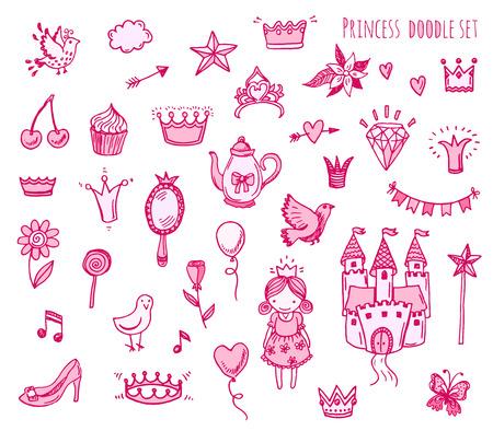 castillos de princesas: Dibujado a mano conjunto de ilustración de signo de la princesa y el símbolo doodles elementos. Vectores