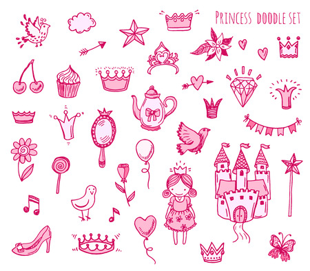 princess dress: Hand drawn illustration set of princess sign and symbol doodles elements. Illustration