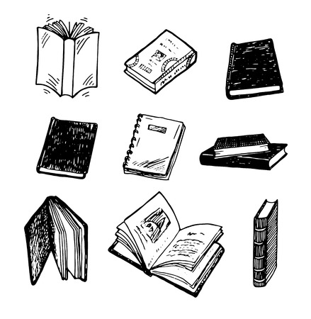 Hand drawn books illustration.