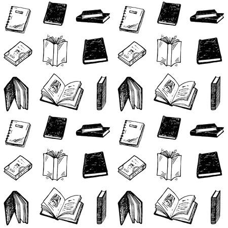 libros abiertos: Patrón sin fisuras con los libros dibujados a mano.