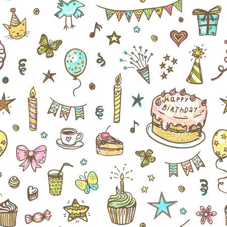 Hand drawn happy birthday doodle seamless pattern