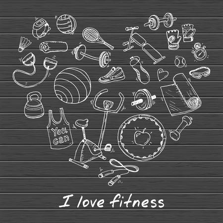symbol sport: Hand gezeichnet Vektor-Illustration Reihe von Fitness- und Sport Zeichen und Symbol Doodles Elemente.