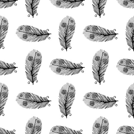 workmanship: Black and white seamless background with hand drawn feathers