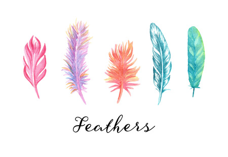 Hand drawn colorful watercolor feathers set
