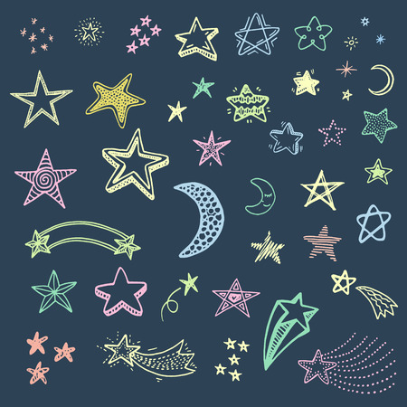 Hand drawn doodle stars set Vectores