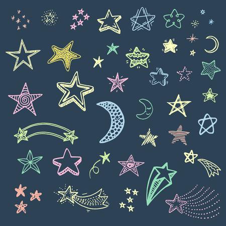 estrella caricatura: Dibujado a mano estrellas Doodle conjunto Vectores
