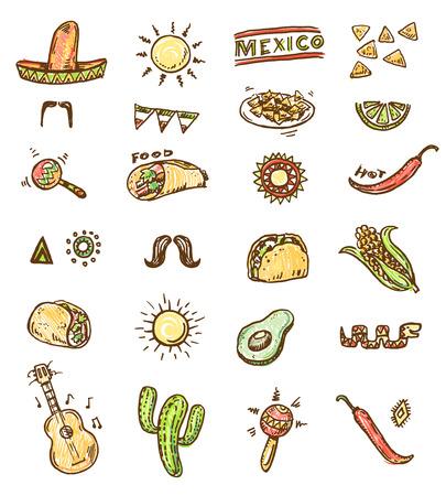 elote caricatura: Iconos dibujados a mano sin costura mexicanas establecen Vectores