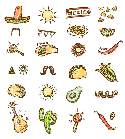 burrito: Mexican seamless hand drawn icons set Illustration
