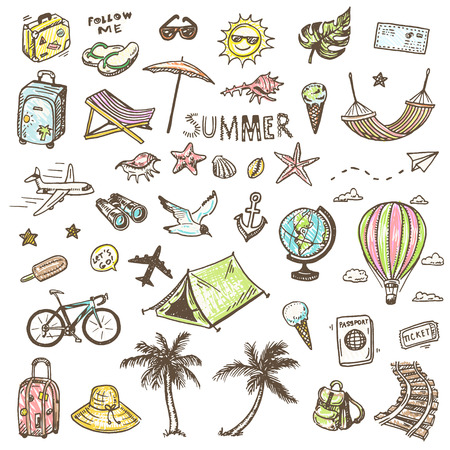 bag cartoon: Hand drawn summer time icons set