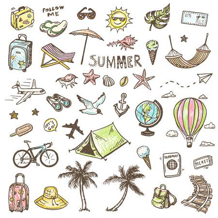 avion caricatura: Iconos drenados mano del tiempo del verano fijaron