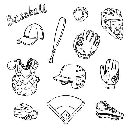 baseball cartoon: Hand drawn baseball set.