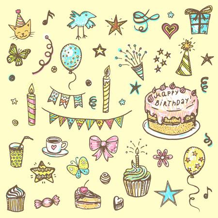 child birthday: Birthday elements. Hand drawn set with birthday cake, balloons, gift and festive attributes Illustration