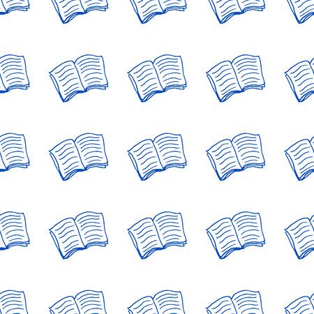 libros abiertos: Dibujado a mano del doodle del patrón con un libros abiertos. Vectores