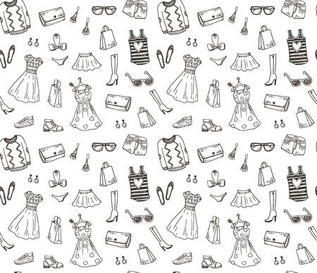 divat: Női ruhák és kiegészítők, kézzel rajzolt firka zökkenőmentes minta