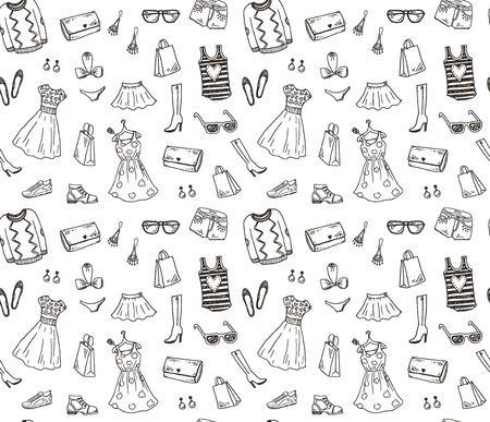 female fashion: Women clothes and accessories, hand drawn doodle seamless pattern
