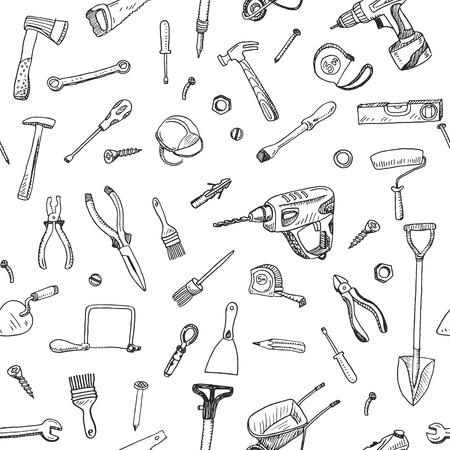 手のツール署名の描かれたシームレス パターンといたずら書きの記号要素。  イラスト・ベクター素材