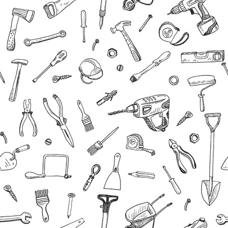 도구 기호와 상징의 손으로 그린 원활한 패턴 요소를한다면.