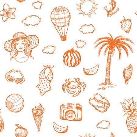watermelon woman: Hand drawn seamless summer vacation pattern. Illustration
