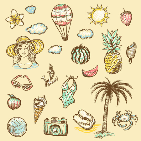 watermelon woman: Hand drawn illustration set of summer vacation sign and symbol doodles elements.