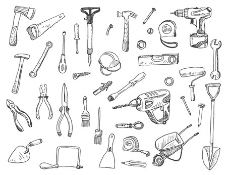 Hand drawn illustration set of construction tool  sign and symbol doodles elements. Ilustração