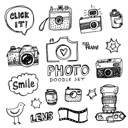 digital camera: Hand drawn illustration set of photography sign and symbol doodles elements.