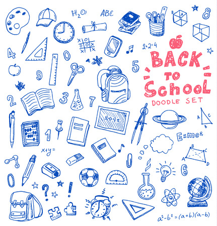 Hand drawn illustration set of school sign and symbol doodles elements.